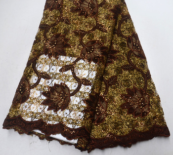 Latest Vogue High Quality Nigeria design Oil Brown African Guipure lace with sequins Retro Guipure Wedding lace fabric 5 yards
