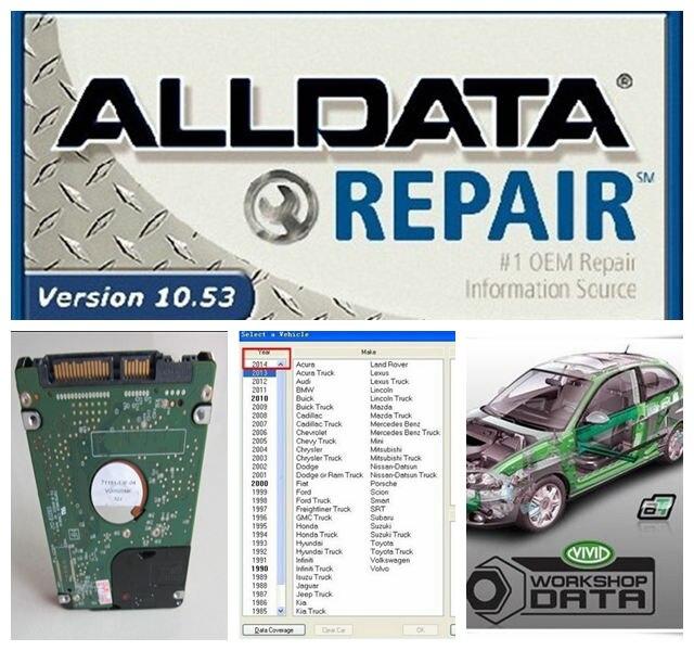 Prix pour CHAUDE!!! 2017 nouveau arrivent Logiciel De Réparation Automobile Alldata 10.53 + Mitchell 2015 + toutes les données et Vivid Atelier 3 logiciels dans 1 tb HDD