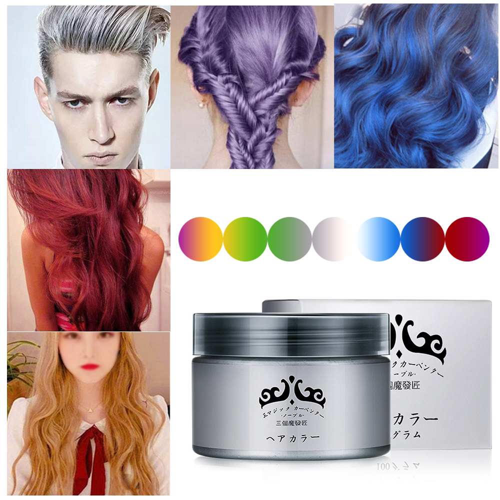 Natural Harajuku Style 7 Colors Grandma Gray Styling Products Hair Color Wax Dye One-time Molding Paste Hair Dye Wax Mud Cream