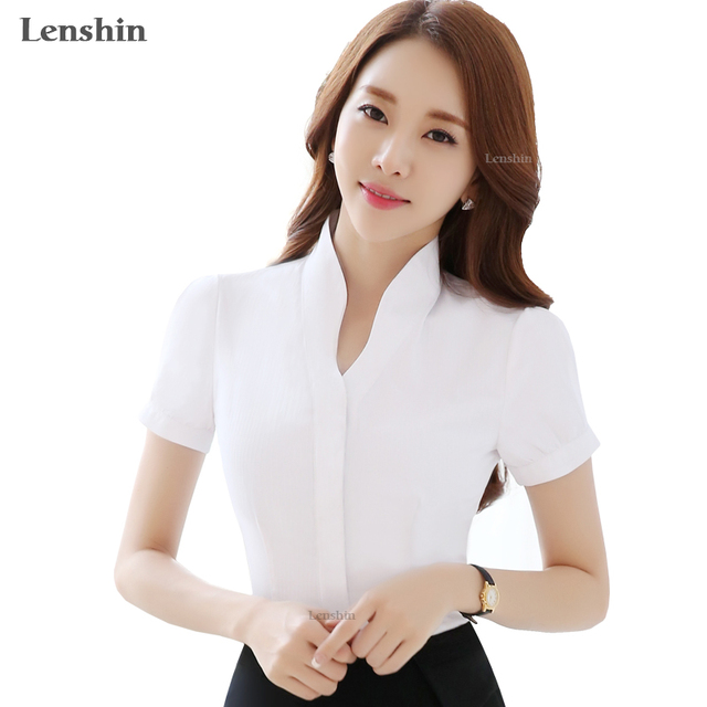0ea50217ddc V-Neck White Shirts Short Sleeve Blouse New Fashion Tops Women Summer Style  Office Ladies Formal Work Wear