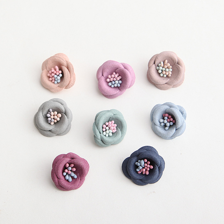 Fabric flower with stamen center for Girls headbands hair ornaments brooch accessory