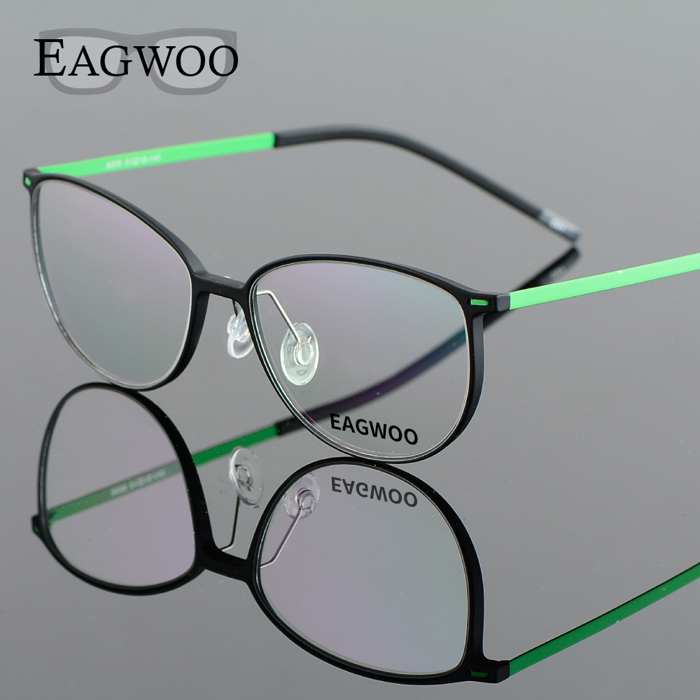 EAGWOO EMS Pure Titanium Eyeglasses Girl Boy Full Rim Optical Frame Recept Vintage Nerd Spectacle Round Glasses 890062