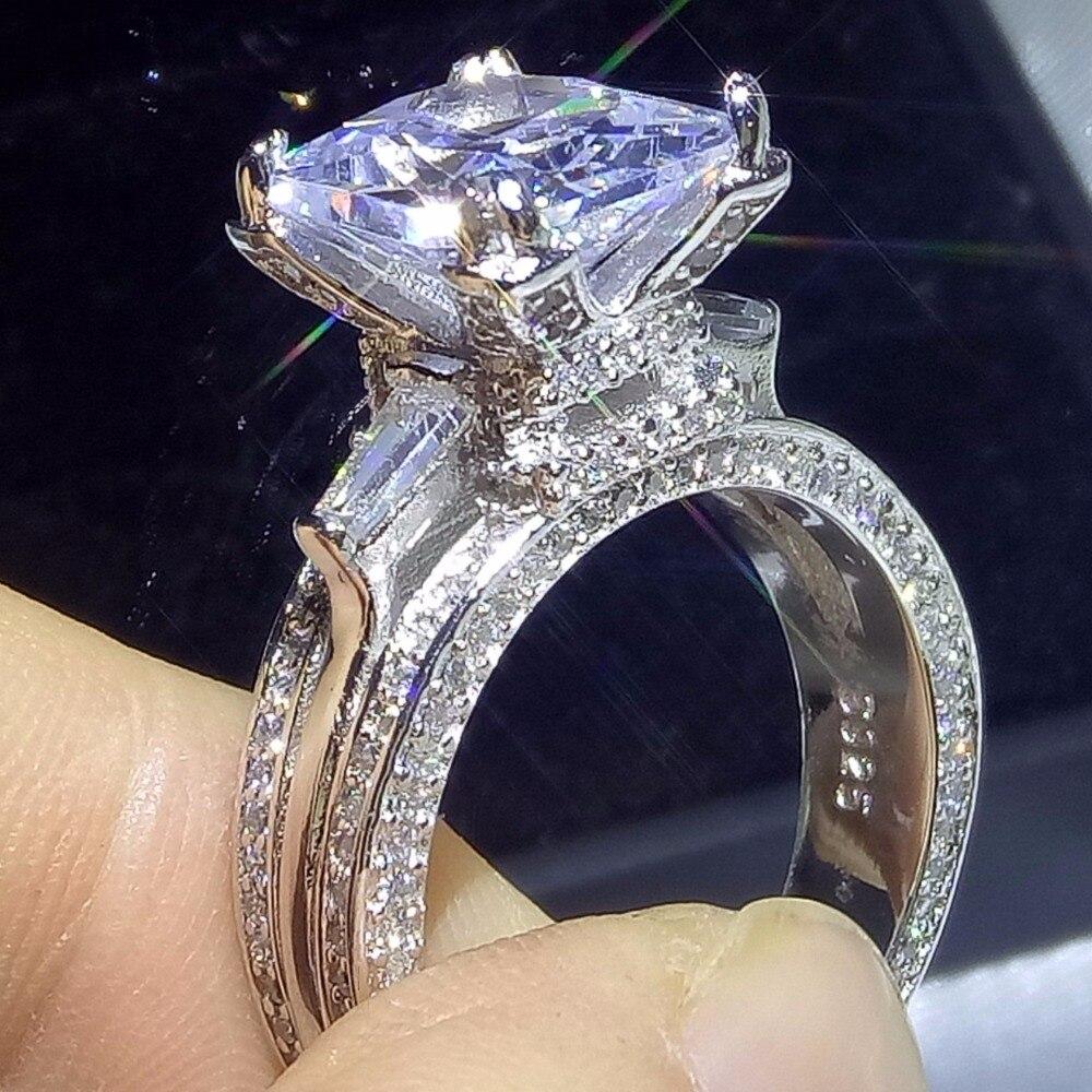 10CT D'origine Marque Nouvelle Mousseux De Luxe Bijoux 925 Sterling Argent Princesse 5A CZ Tour Eiffel Bague De Mariage Pour Les Amoureux