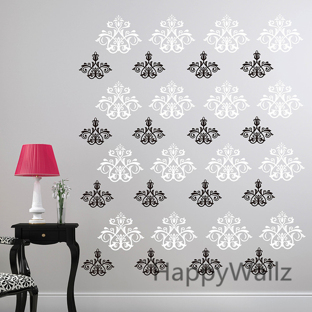 Lovely Damask Wall Sticker Decorative Damask Flower Wall Decal DIY Removable Wall  Decoration Modern Wall Decors P40