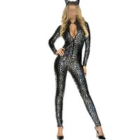2017 Sexy Faux Leather Cat Leopard Snakeskin Latex Jumpsuit Rompers Bodysuit Catsuit Shiny Party Fashion Girl