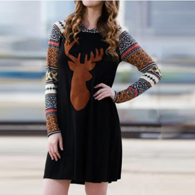 31b2fb97b46cb Brand New Women s Autumn Winter Long Sleeve Hooded Dress Fashion Christmas  Reindeer Printed Casual Mini Dress Vestidos Plus Size