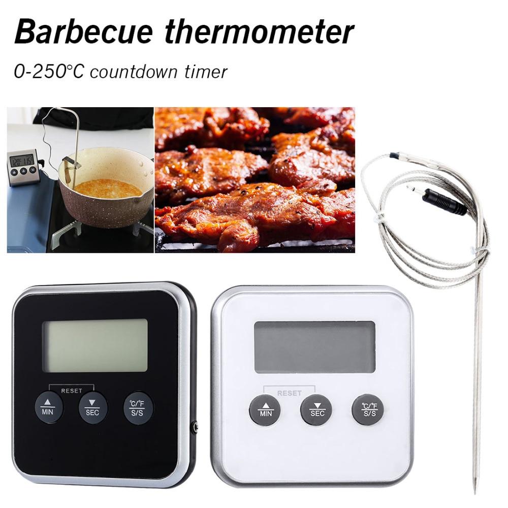 Horno cocina alimentos termómetro LCD Digital carne barbacoa termómetro de cocina temporizador sonda remota con sonda