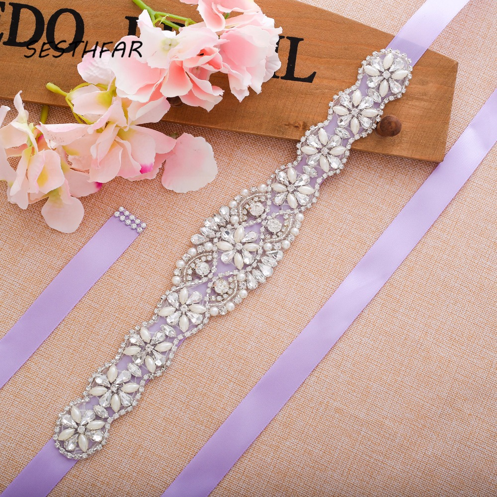 Pearl Bridal Belt Crystal Bridal Sash Silver Rhinestone Flower Wedding Belt Sash For Bridal Dress GownJ130