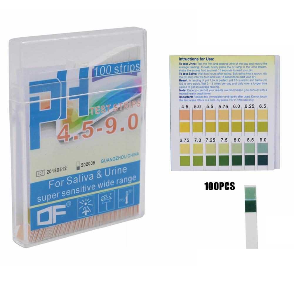 100pcs PH Test Strips Litmus Paper PH4.5-9.0 Alkaline Acid Test Paper For Water Saliva Urine Testing PH Test Meter