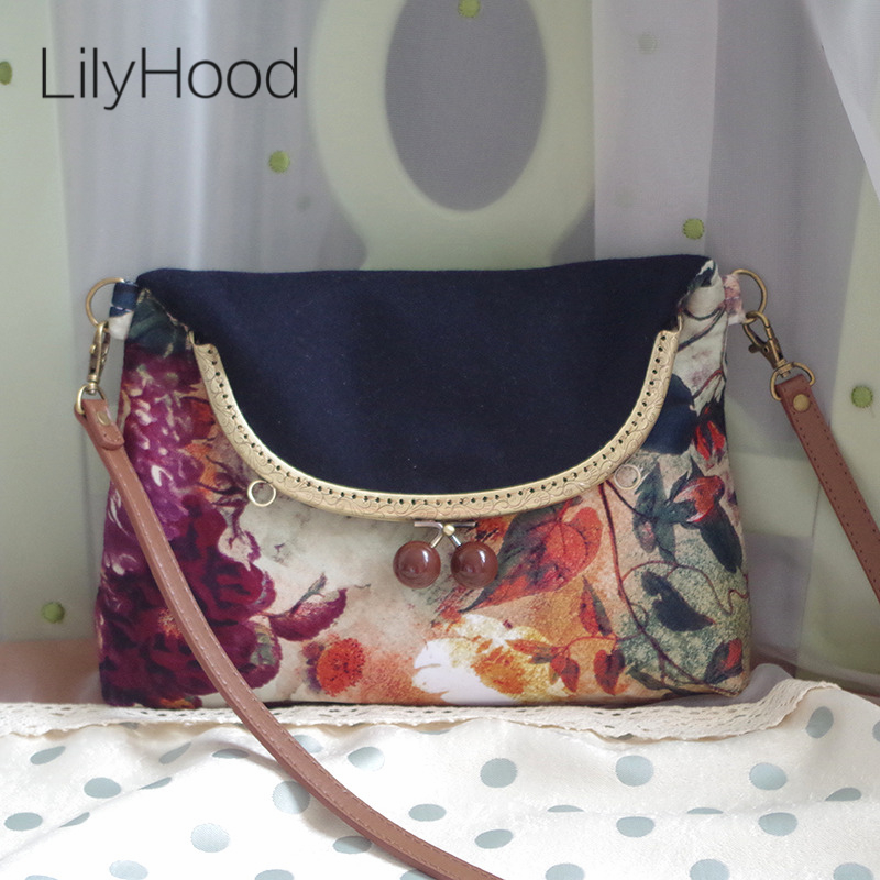 все цены на LilyHood Women Autumn Floral Printing Wool Flap Shoulder Bag China Vintage Retro Chic Envelope Fabric Small Black Crossbody Bag