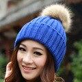 2016 Mulheres Primavera Chapéus de Inverno Gorros de Malha Cap Chapéu de Crochê Pele De Coelho Pompons Ear Proteja Cap Chapeu Feminino Casuais