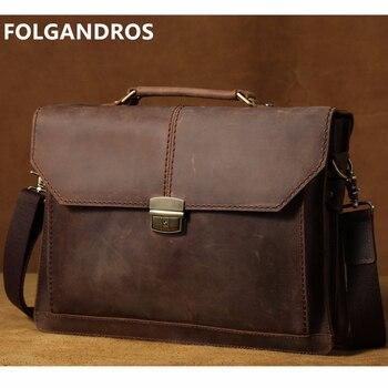 FOLGANDROS Genuine Leather Shoulder Messenger Bag Men Simple Lock Handbag Brand Designer Student Briefcase Vintage Satchel Bolsa