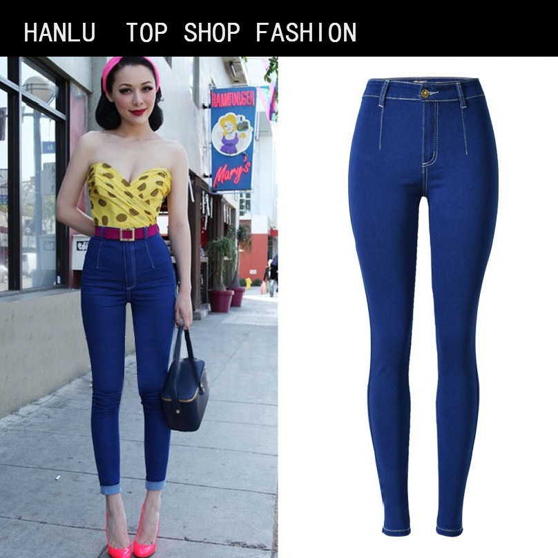 HANLU Spring Hot Fashion Ladies Denim Pants Plus Size Ultra Elastic Women High Waist Jeans Skinny Jeans pencil pants trousers plus size pants the spring new jeans pants suspenders ladies denim trousers elastic braces bib overalls for women dungarees