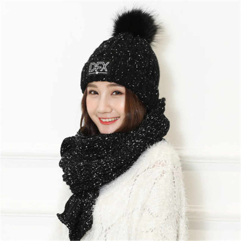 90a1dcd8 ... Immitation Wool hat female winter knit hat cold weather warm head cap  scarf suit windproof ski ...