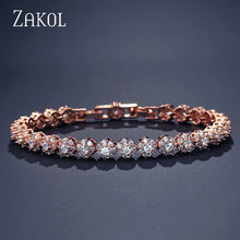 ZAKOL Fashion Rose Gold Color Flower Chain Link Bracelets for Women Ladies Shining Cubic Zircon Crystal Jewelry Gift FSBP2026(China)