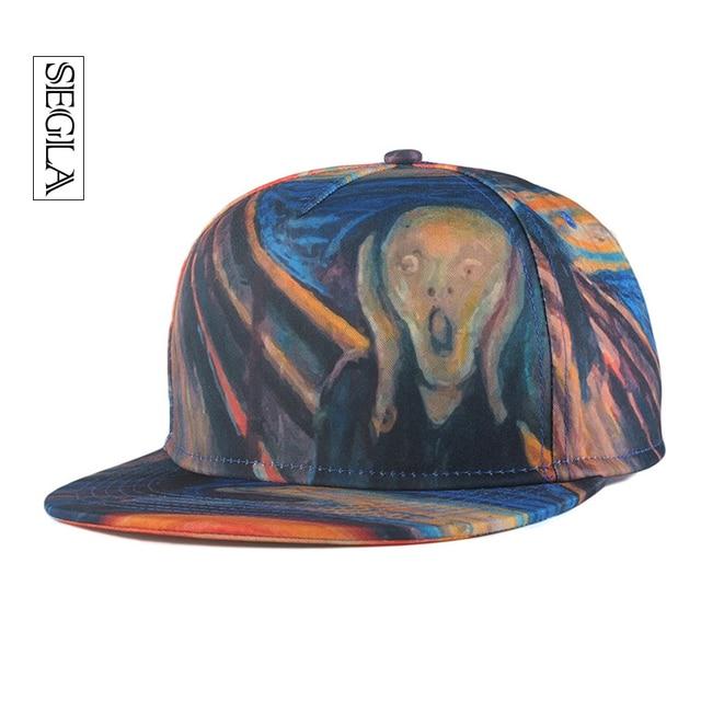SEGLA Unisex Baseball Caps Snapback Street Hip Hop Cap 3D Scared Wizards Oil Drawing 6 Bones Flat Casquette Adjustable Sun Hats