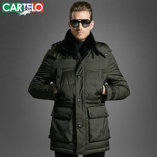 CARTELO/Marca 90% de Pato Coelho Seto Gola De Pele Ocasional de Meia-idade Para Baixo Bolso da Jaqueta de Inverno Jaquetas Masculinas Quentes Casaco grosso Para Homens