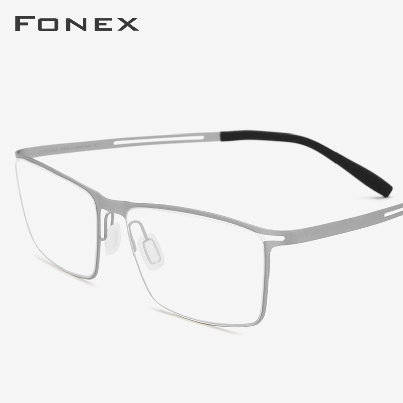 FONEX Elastic B Titanium Glasses Men Prescription Eyeglasses Frame Ultralight Myopia Optical Frame Screwless Eyewear 874