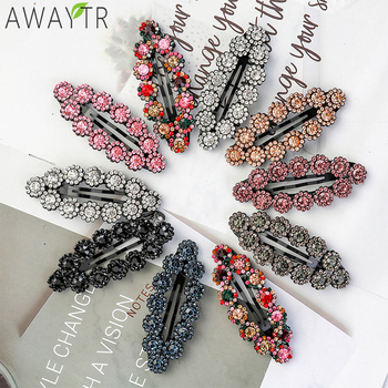 AWAYTR Crystal Rhinestone Flower Hair Claw Hairpins Fashion Barrette Ornaments Hair Clips Hairgrip for Girl For Hair Accessories 6pcs pack crystal women flower hair claw hairpins hair accessories ornaments hair clips hairgrip for kids girl