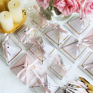 Image 3 - 50pcs/100pcs New Pyramid Style Candy Box Chocolate Box Wedding Favors Gift Boxes With THANKS Card & Ribbon Party Supplies