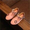 TangFar Girls Flower Princess Shoes PU leather Children Dress Moccasins Anti-slip Kids Wedding Loafers