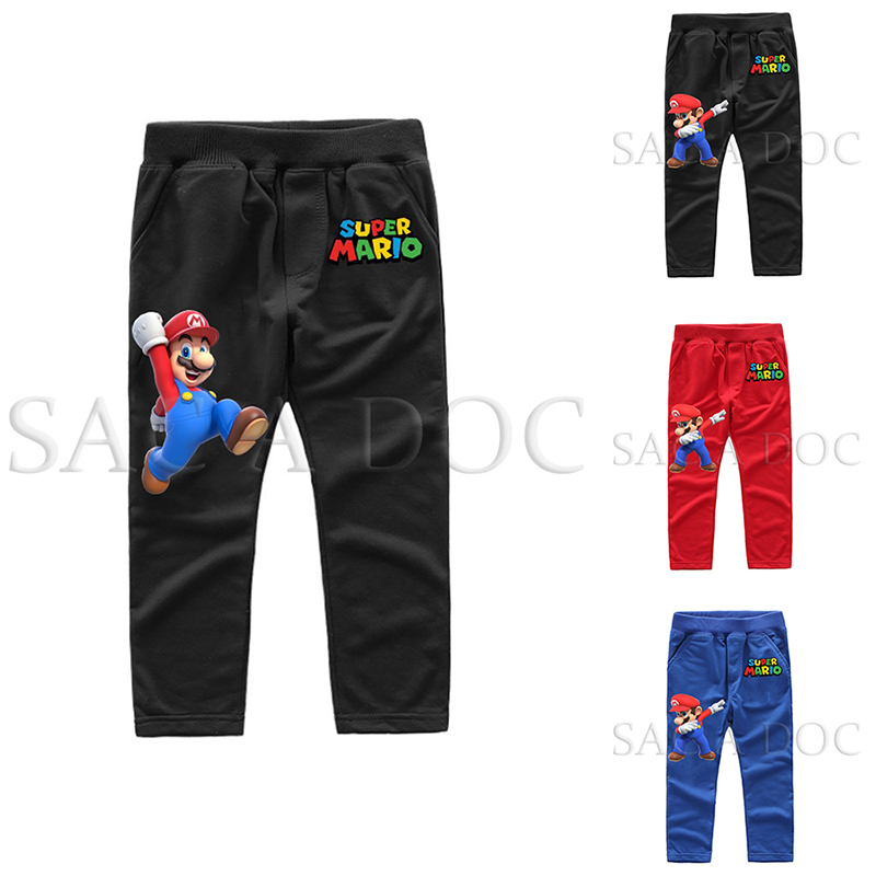Straight Pants Super-Mario-Print Sportswear Long-Trousers Winter Casual Fashion Cartoon