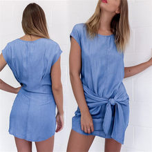 e1eb1abdda Women Summer Denim Dress Short Sleeve Slim Street Clothing O-neck Mini  Jeans Dresses