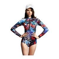 Women Sexy Front Zipper Rashguard 2017 Colorful Bodysuit Long Sleeve Swimsuit One Piece Swimwear Surfing Bathing