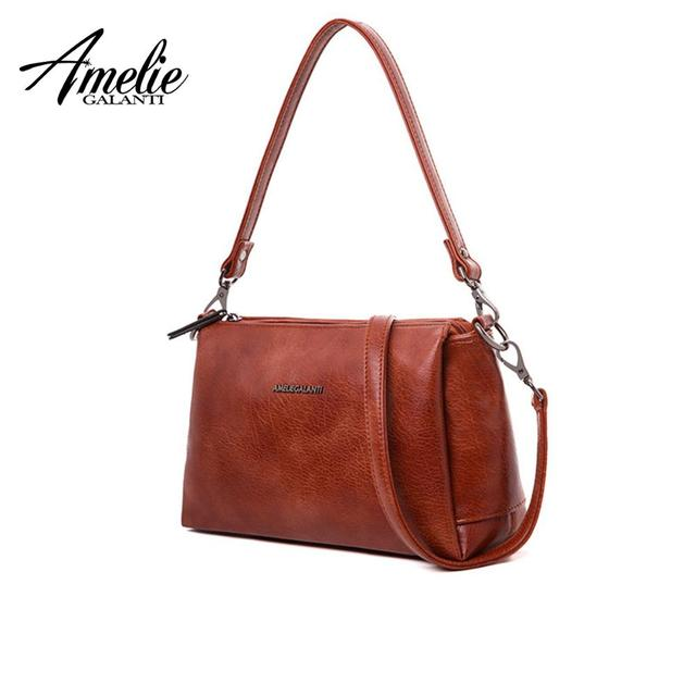 AMELIE GALANTI sSmall 3 Zipper Crossbody Bag for Women Practical Stylish High Quality PU Leather Zipper Multi Pocket with Strap