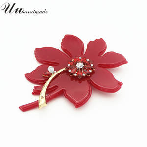 Pin Vintage Broach Flower-Brooches Brosche Women Jewelry for Fashion Mujer Red Hot-Sale