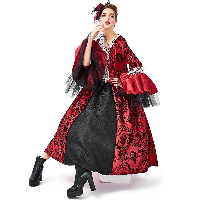 Renaissance Medieval Gothic Vampire Kostüme Cosplay Halloween Ball Modell Landebahn Kostüm Palace Kleid Hut Petticoat Vollen Satz