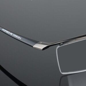 Image 5 - Armação de óculos masculina, armação de titânio, meia armação ótica, vintage, 2017
