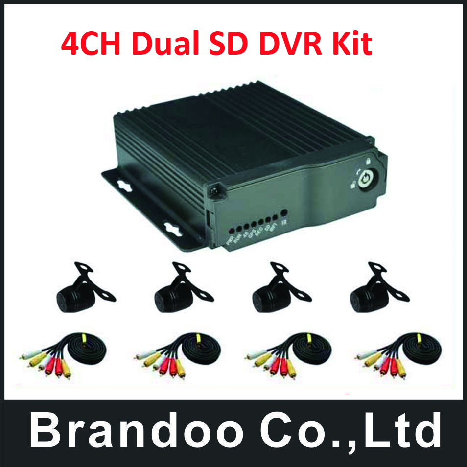 Russian/English language;BD-323HD,4Channel SD CAR DVR with 4 mini waterproof cameras kit,used for taxi,bus,driving school bus цена