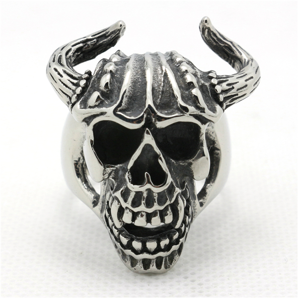 Mens Boy 316L Stainless Steel Cool Cow Skull Evil Demon Newest Ring