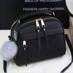 Bolsa de couro do plutônio para as mulheres nova menina mensageiro sacos com bola justo borla moda feminina bolsas de ombro senhoras festa bolsas