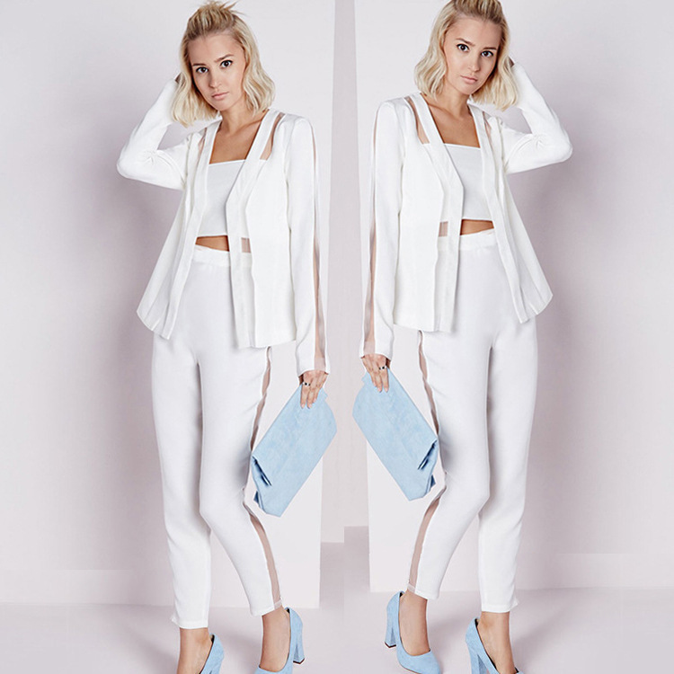 2019 High Quality Casual Solid White Women Pant Suits Blazer Jacket & Pencil Pant Female Suit Sexy Lady Outfits Women's Sets