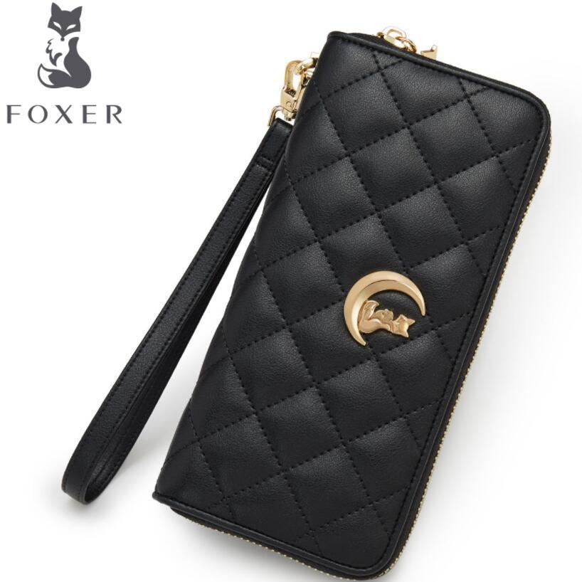 купить FOXER women leather wallets 2018 new women long wallets Simple fashion zipper long leather wallets purse women clutch bags по цене 2694.74 рублей