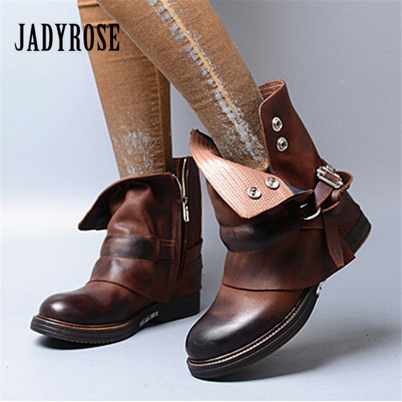 Jady Rose Brown Women Ankle Boots Female Genuine Leather Short Booties Platform Rubber Martin Boots Straps Flat Botas Mujer jady rose ankle boots for women straps buckle genuine leather autumn boots platform short booties female flat rubber martin boot