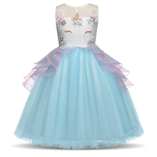 Fancy Kids Unicorn Tulle Dress for Girls Embroidery Ball Gown Baby Flower Girl Princess Dresses Wedding Party Costumes Unicornio все цены