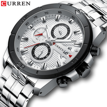 CURREN Silver Steel Quartz Watches Men Date Chronograph 30m Waterproof Military Sport Analog Wrist Watch Clock Relogios Dropship curren top brand men fashion chronograph quartz watches men s leather military sport wrist watch male 24 hours date analog clock