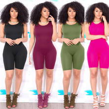 Sexy Women's Sleeveless Bodycon Slim Fit Jumpsuit Clubwear Bodysuit Shorts(China)