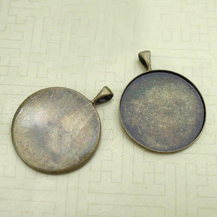 Пустой Прочный Круглый безель лоток с под ключ металлическая основа подвески настройки Смола Камея Кабошоны результаты DIY сделать многоцветные покрытием - Цвет: antique bronze tone
