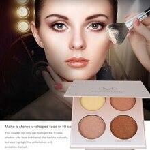 1 pcs Brown Branco Shimmer Rosto Contour Pó Brilho Ilumine Bronzers Highlighteres Corretivo Paleta de Maquiagem De Base