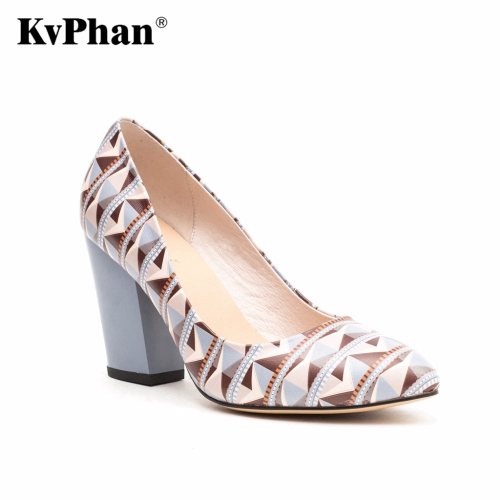 KvPhan High Heels Women Shoes Geometric Pattern Cow Leather Shallow Mouth Slip-on Casual Shoe Square Heels Dress Women Shoes women genuine leather platform wedges shoes ladies shallow mouth slip on high heels wedge shoes fashion cow leather mother shoes