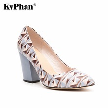 KvPhan High Heels Women Shoes Geometric Pattern Cow Leather Shallow Mouth Slip-on Casual Shoe Square Heels Dress Women Shoes