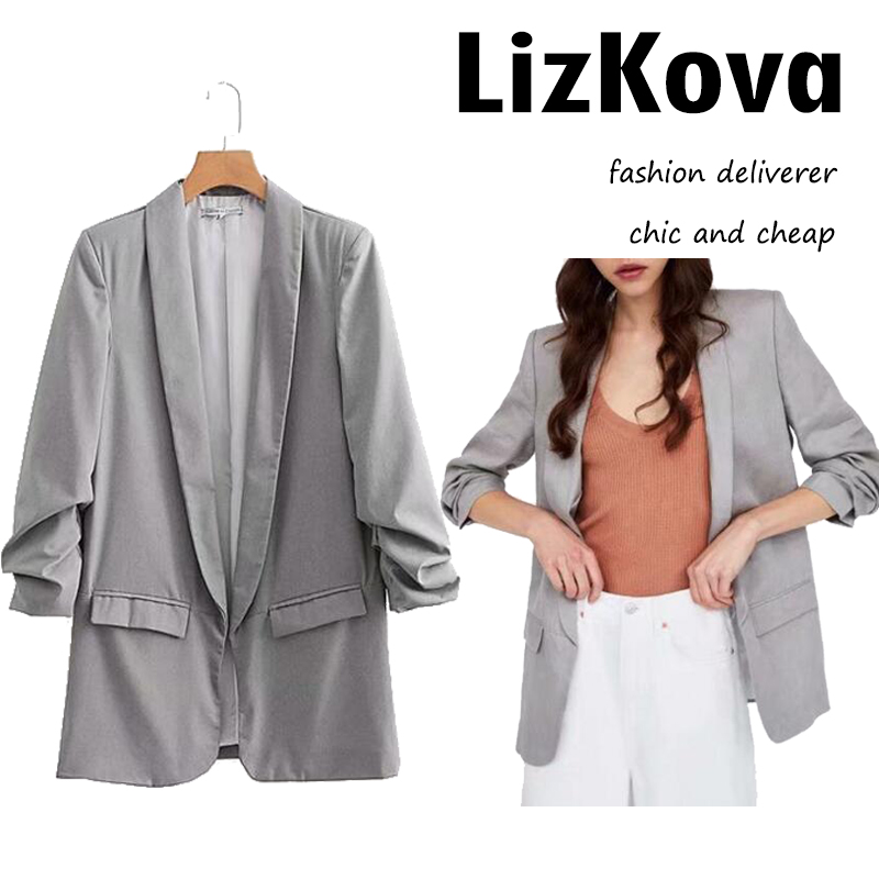 Plus Size Gray Blazer Women Oversized Long Suit Jacket 2018 Spring Summer Lady Cotton Linen Long Sleeved Cardigans Blazers JT042