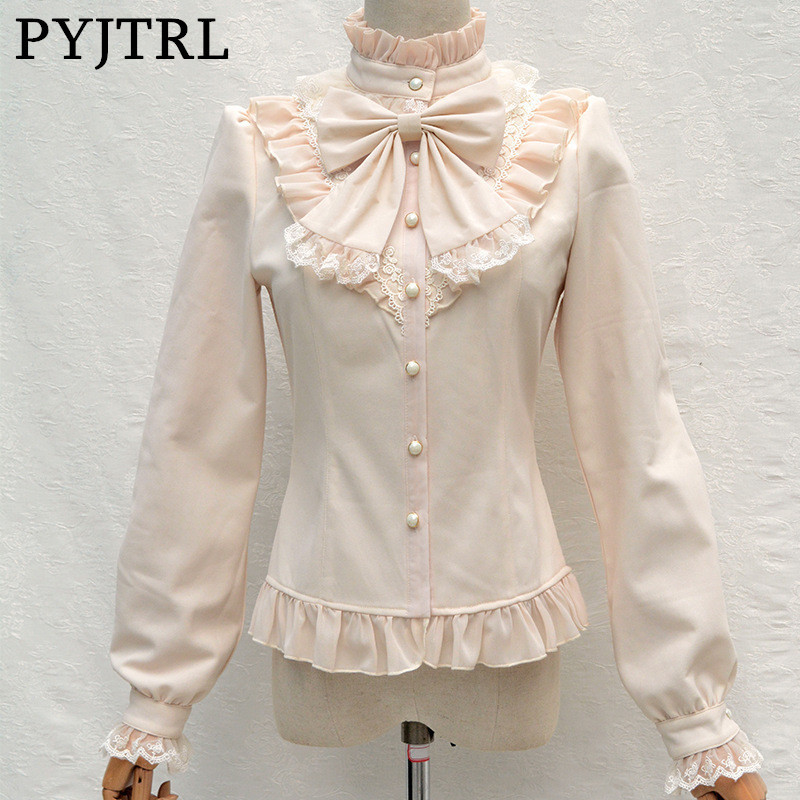 PYJTRL Sweet Lolita New Autumn Winter Thicken Velvet Keep Warm Stand Collar Shirt Temperament Lovely Lace Bowknot Blouse Kimono