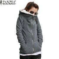 S M L XL Black Gray 2014 Winter Women New Fleece Cotton Warm Hooded Hoodies Sweatshirt