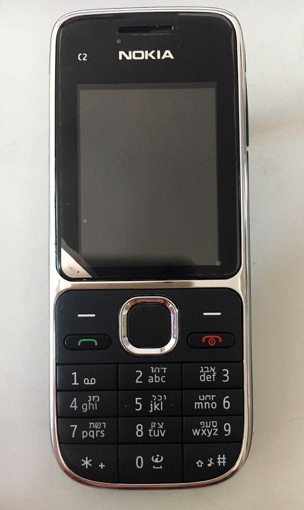 Nokia C2 C2-01 разблокированный мобильный телефон восстановленные мобильные телефоны и Иврит Русский Арабский Клавиатура - Цвет: black Hebrew keybad