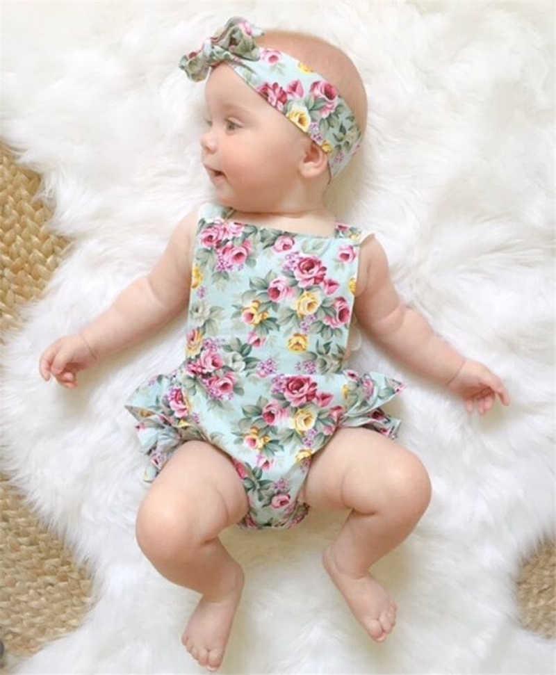 e0bd5580f2cd 2PCS Set Newborn Floral Baby Girl Clothes 2018 Summer Sleeveless Cotton  Ruffles Romper Baby Bodysuit +